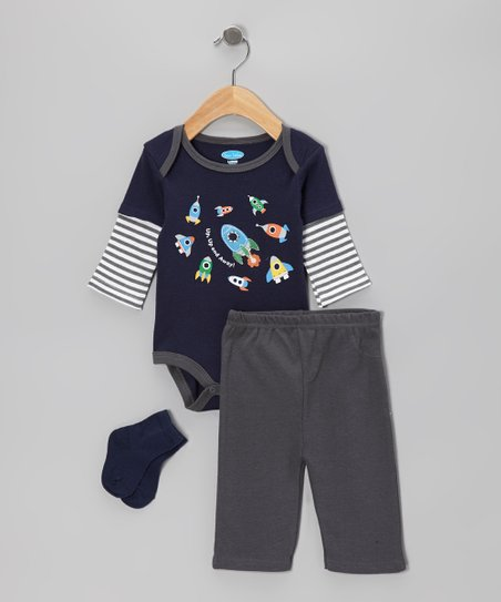 Navy Rocket Ships Layered Bodysuit Set - Infant