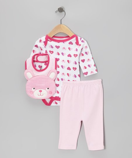 Pink Heart Bunny Bodysuit Set - Infant