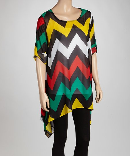 Green & Yellow Zigzag Sheer Sidetail Tunic