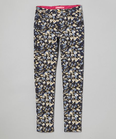 Blue Floral Straight Leg Pants