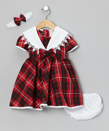 Red Plaid Bow Lace Collar Babydoll Dress Set - Infant