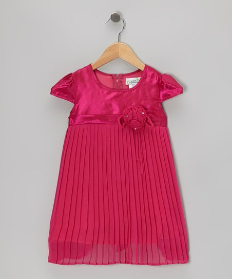 Raspberry Pleated Cap-Sleeve Dress - Toddler & Girls