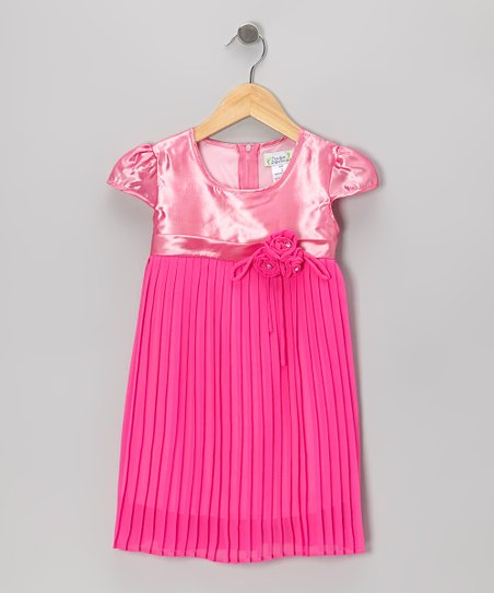 Pink Pleated Cap-Sleeve Dress - Toddler & Girls