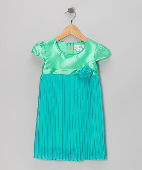 Mint Pleated Cap-Sleeve Dress - Toddler & Girls