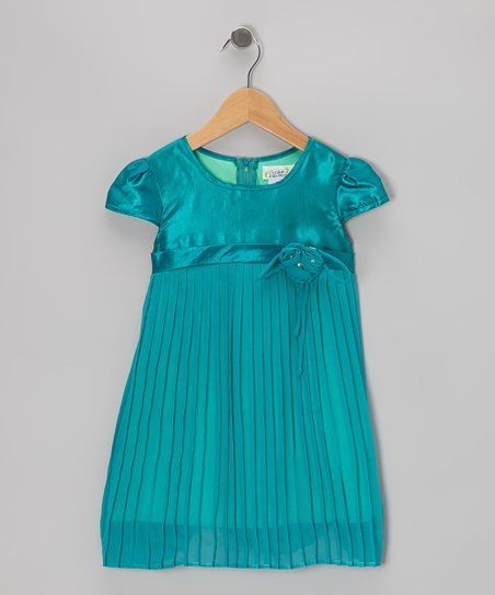 Teal Pleated Cap-Sleeve Dress - Toddler & Girls