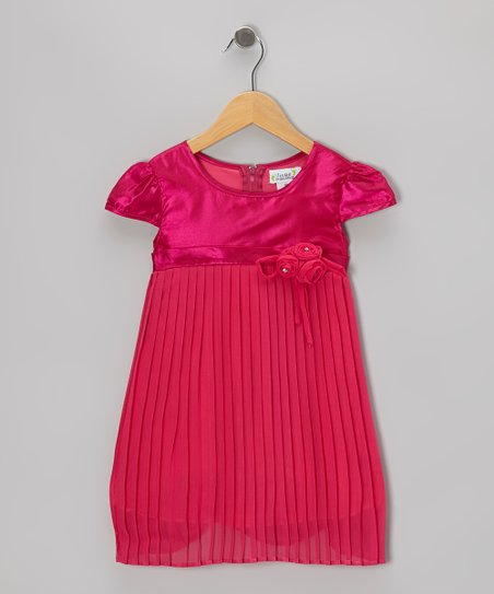 Fuchsia Pleated Cap-Sleeve Dress - Toddler & Girls