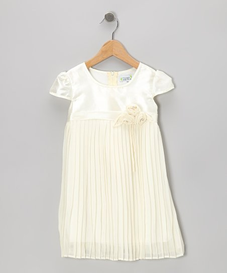 Cream Pleated Cap-Sleeve Dress - Toddler & Girls