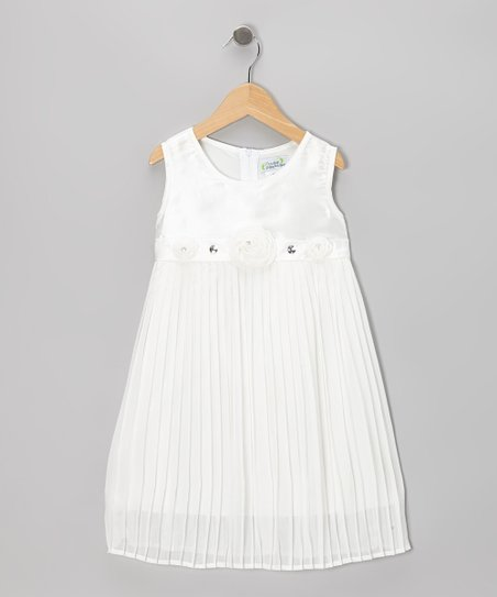 Cream Pleated Shift Dress - Toddler & Girls