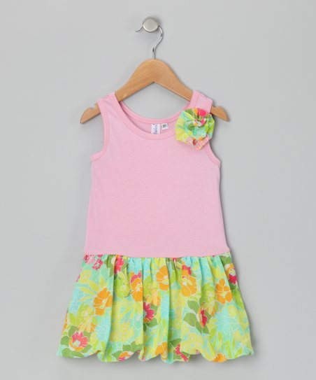 Pink & Teal Bubble Liza Dress - Toddler & Girls