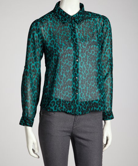 Turquoise Lattice Back Button-Up