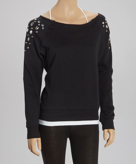 Black Jeweled Pullover