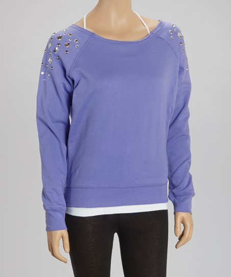 Blue Violet Jeweled Pullover