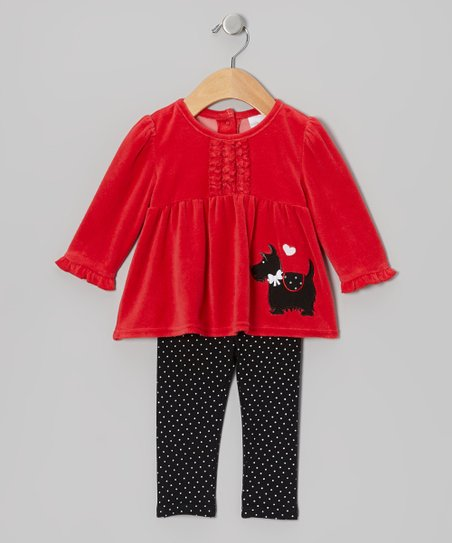 Red Scottie Velour Tunic & Leggings