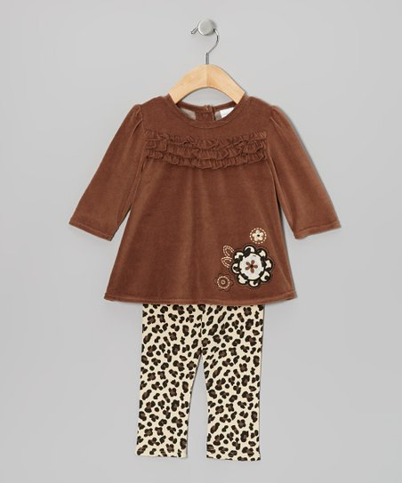 Brown Flower Velour Tunic & Leggings