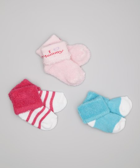 Pink 'I Love Mommy' Socks Set