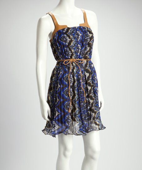 Royal Blue & Black Pleated Dress