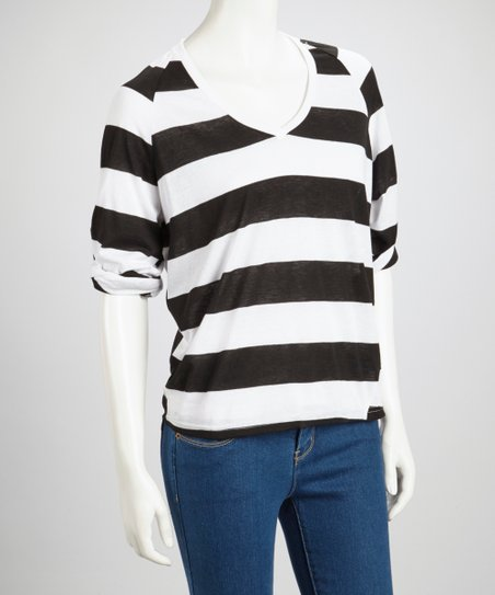 Black Stripe V-Neck Top