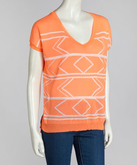 Neon Orange Tribal Sweater