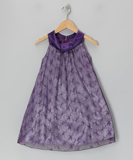Purple Lace Yoke Dress – Toddler & Girls