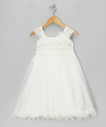 Ivory Flower Chiffon Babydoll Dress - Toddler & Girls