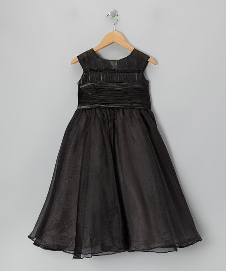 Black Tie-Back Cap-Sleeve Dress – Girls
