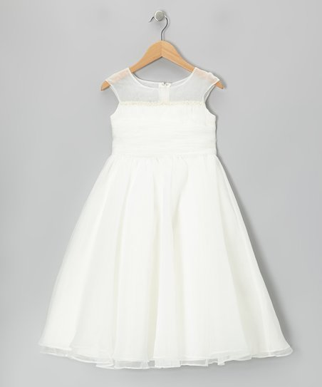 Ivory Tie-Back Cap-Sleeve Dress - Girls