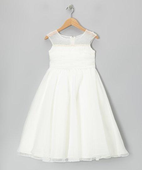 Ivory Tie-Back Cap-Sleeve Dress - Girls