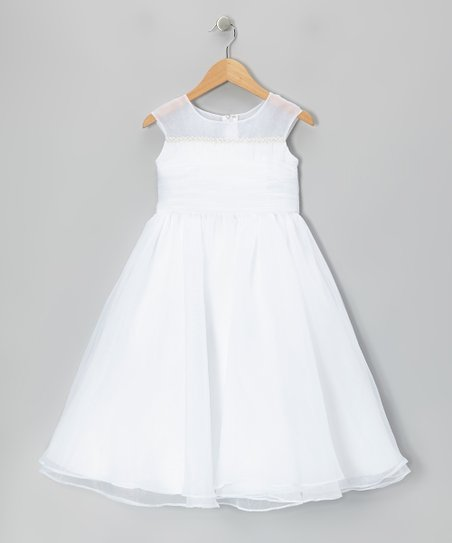 White Tie-Back Cap-Sleeve Dress – Girls