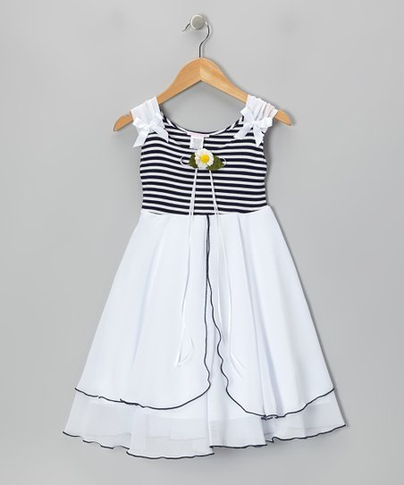 Navy Blue & White Daisy A-Line Dress - Toddler & Girls