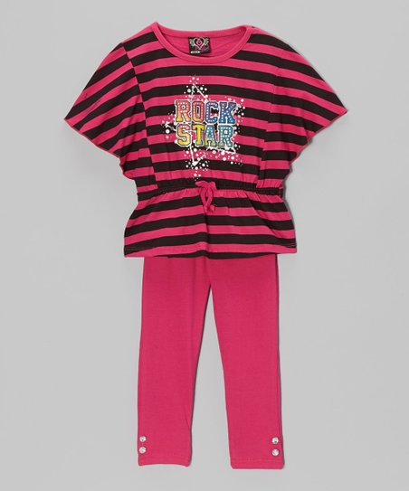 Fuchsia 'Rock Star' Tunic & Leggings - Toddler & Girls