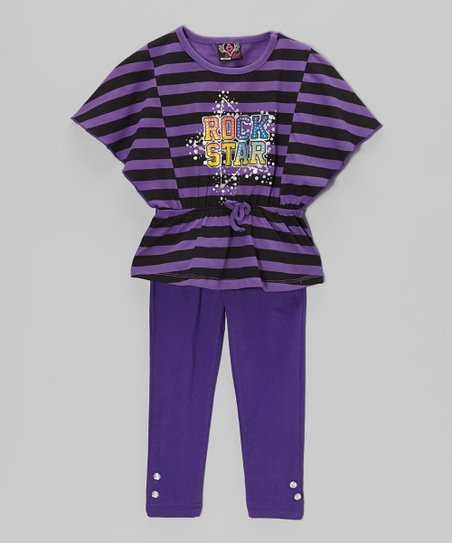 Purple 'Rock Star' Tunic & Leggings - Toddler & Girls