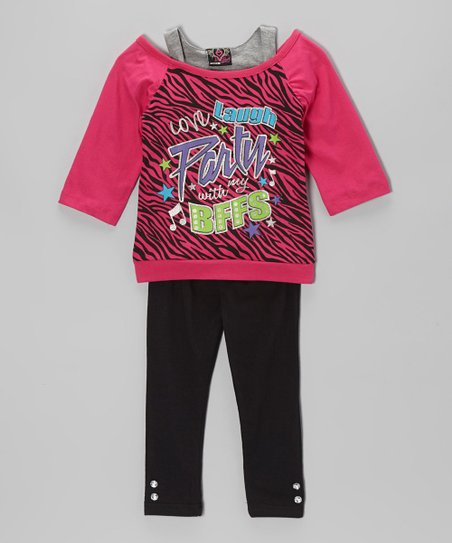 Fuchsia 'BFF' Layered Tunic & Leggings – Infant & Toddler