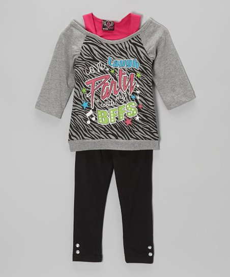Gray 'BFF' Layered Tunic & Leggings - Infant & Toddler