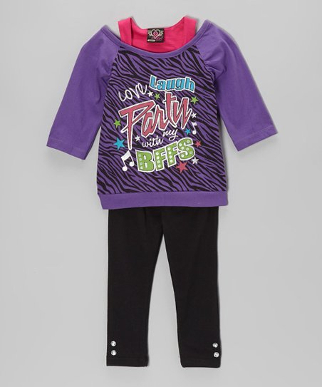 Purple 'BFF' Layered Tunic & Leggings - Infant & Toddler