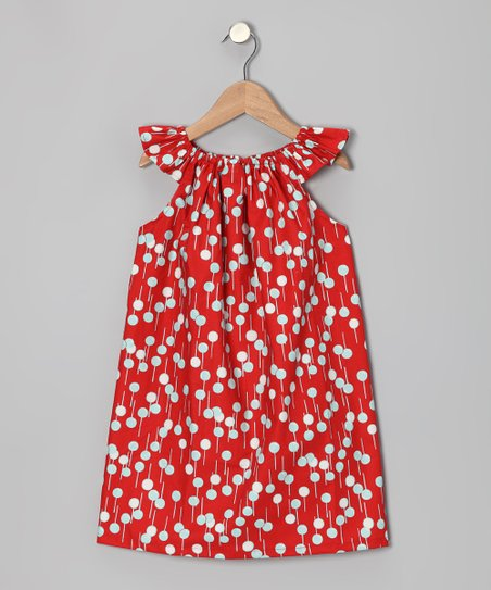Red Bubble Angel-Sleeve Dress - Infant & Toddler