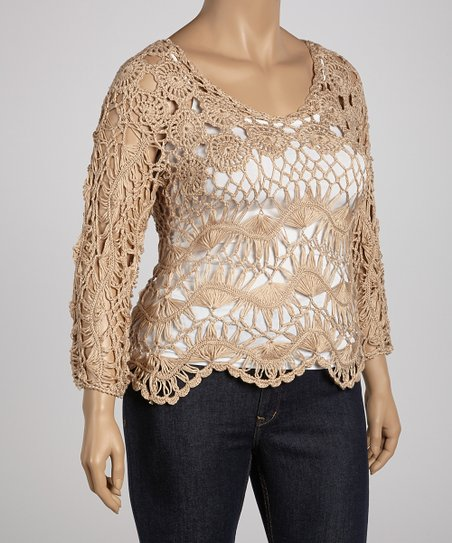 Beige Flower Crocheted Three-Quarter Sleeve Top - Plus