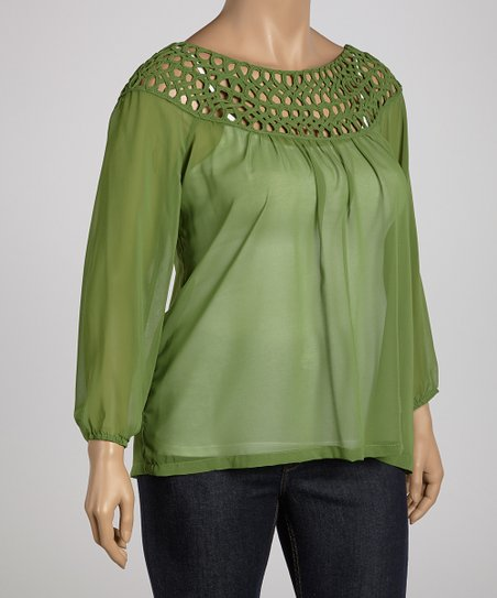 Avocado Crocheted Collar Top - Plus