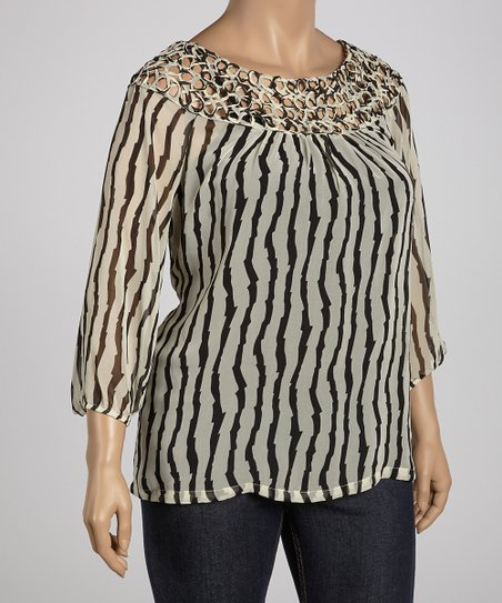 Black & Ivory Stripe Crocheted Collar Top - Plus