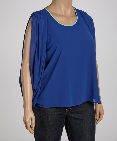 Blue Cape-Sleeve Top - Plus