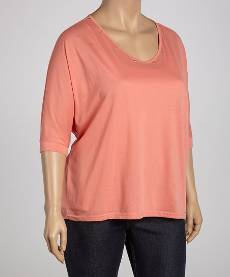 Coral Studded Sheer Dolman Top - Plus