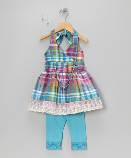 Blue Plaid Halter Top Set - Toddler & Girls
