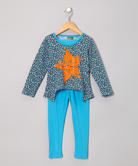 Blue Leopard Star Hi-Low Tunic & Leggings - Toddler