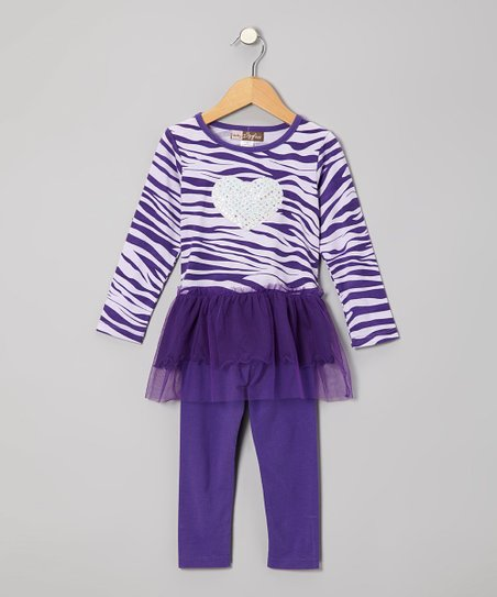 Purple Zebra Layered Tunic & Leggings - Toddler