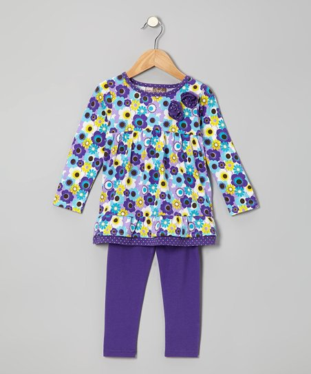 Purple Floral Tunic & Leggings - Toddler