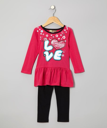 Fuchsia 'Love' Tunic & Black Leggings - Toddler