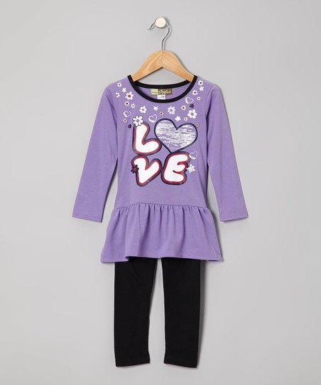Light Purple 'Love' Tunic & Black Leggings - Toddler