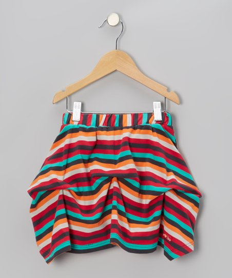 Framboise & Turquoise Stripe Jersey Skirt - Toddler & Girls