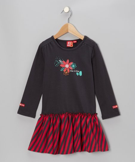 Charcoal Stripe Drop-Waist Dress - Toddler & Girls