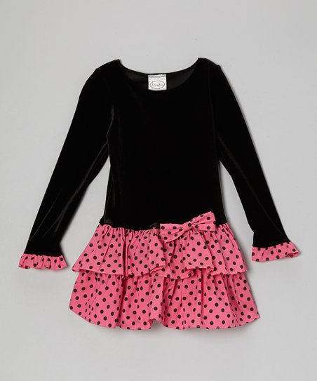 Black & Fuchsia Polka Dot Drop-Waist Dress - Girls