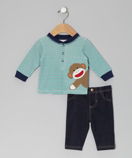 Blue Stripe Sock Monkey Henley & Denim Pants - Infant